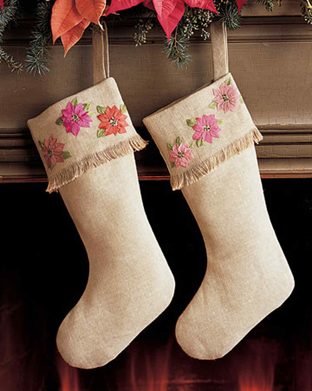 Poinsettia Fringe-Cuff Stocking