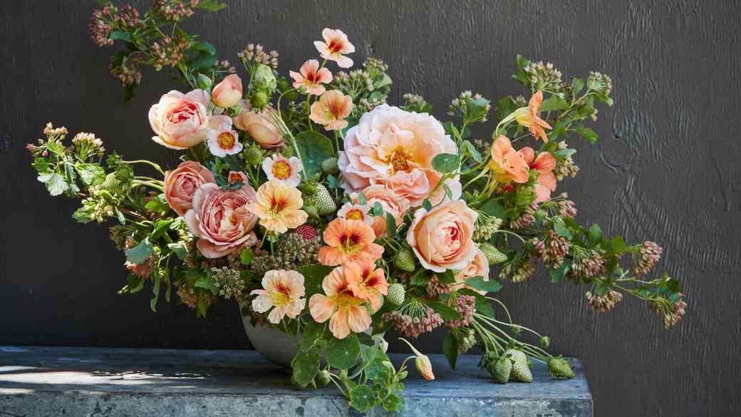 peach floral arrangement by max gill
