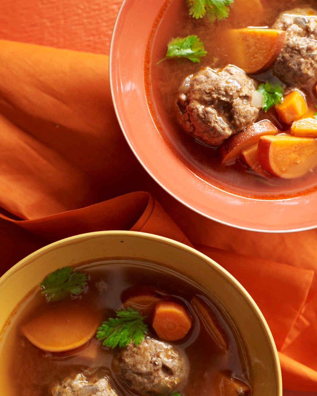 Moroccan Meatball Soup with Sweet Potato
