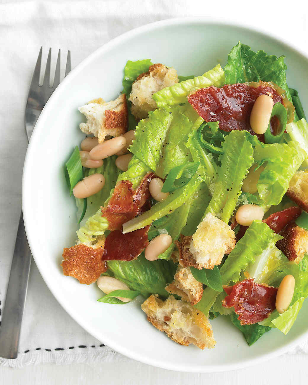 Romaine Salad with Crispy Prosciutto and White Beans