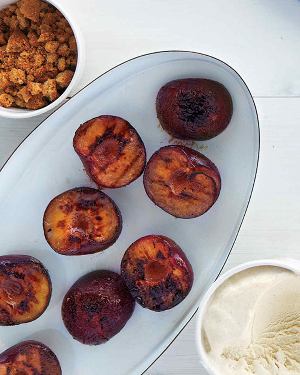 Grilled Plums with Cookies and Ice Cream