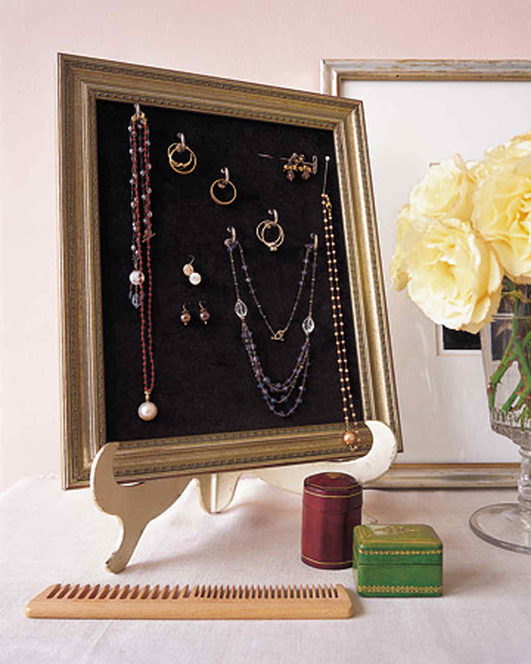 Diy jewelry storage frame your treasures martha stewart jeuxipadfo Image collections