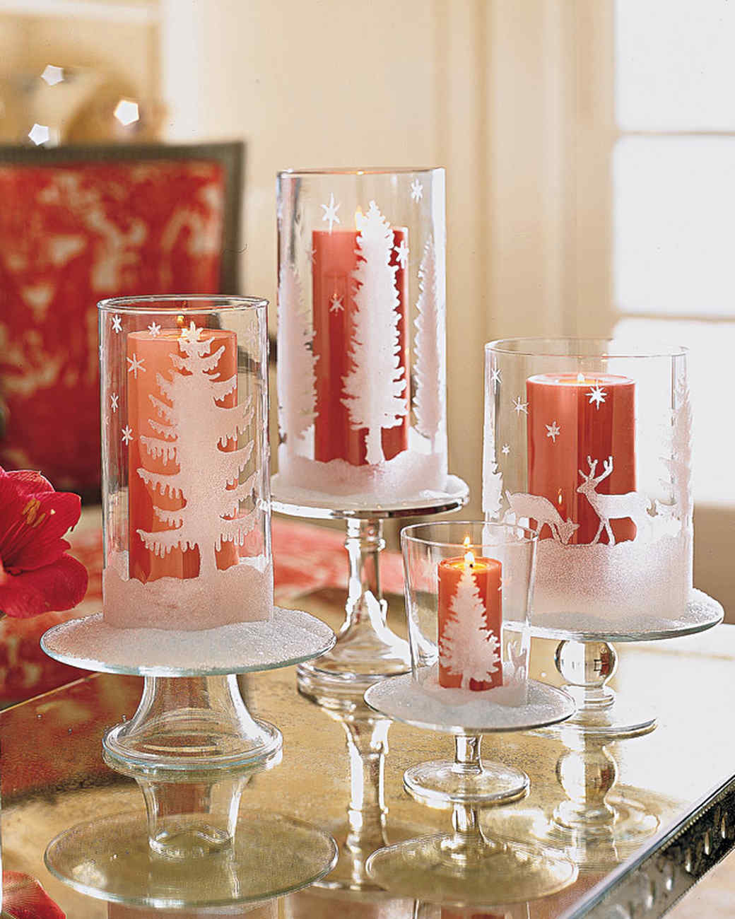 glittered candleholders martha stewart - Christmas Candle Holders Decorations