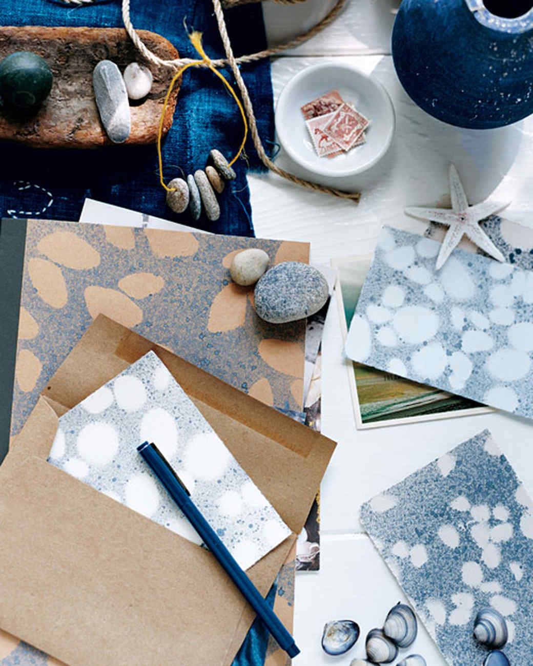 Seashell and Pebble Sprayed Stationery