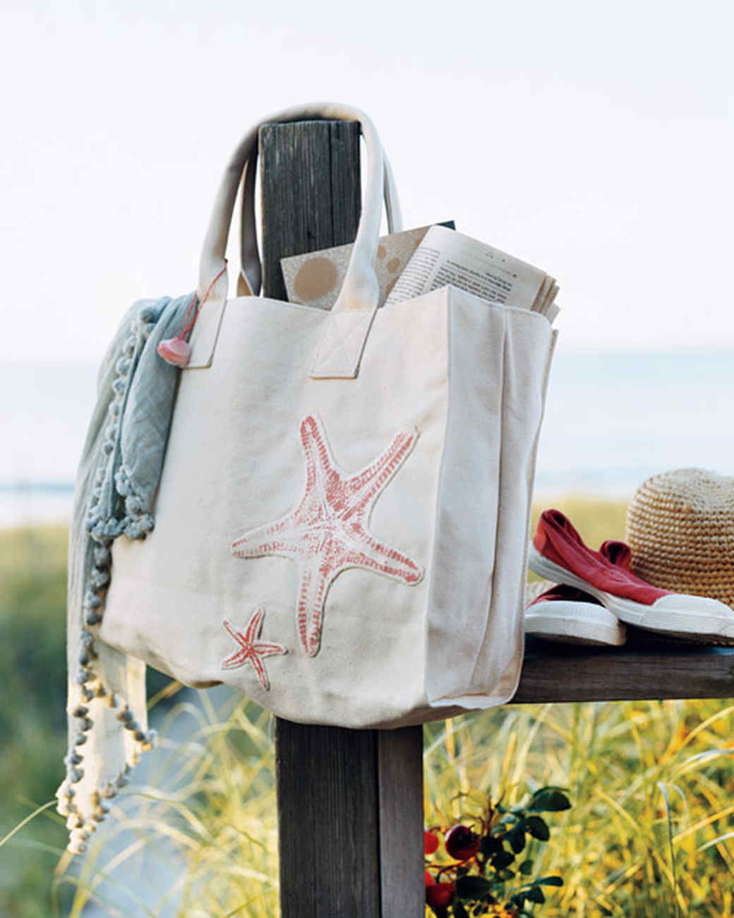 Appliqued Sea Star Tote Bag