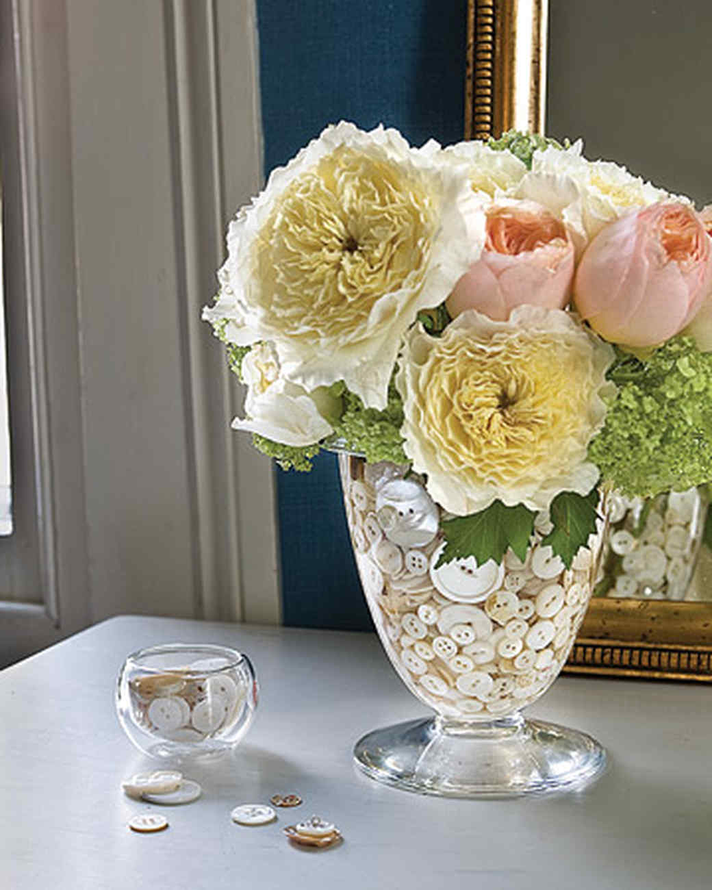 Button-Filled Flower Arrangement