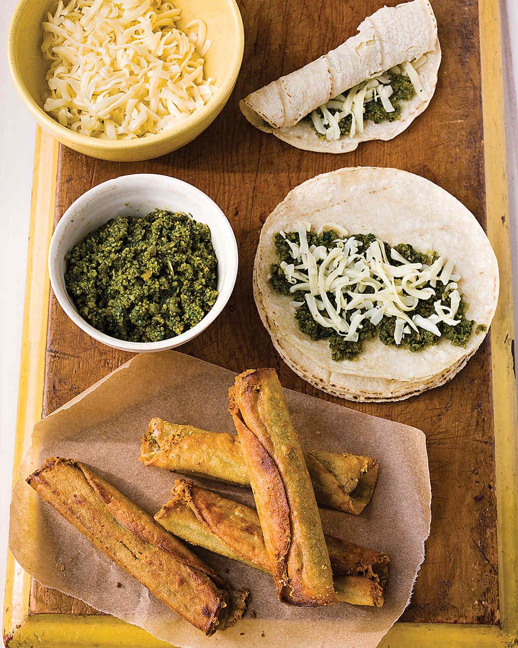 Cheese Flautas with Cilantro Pesto