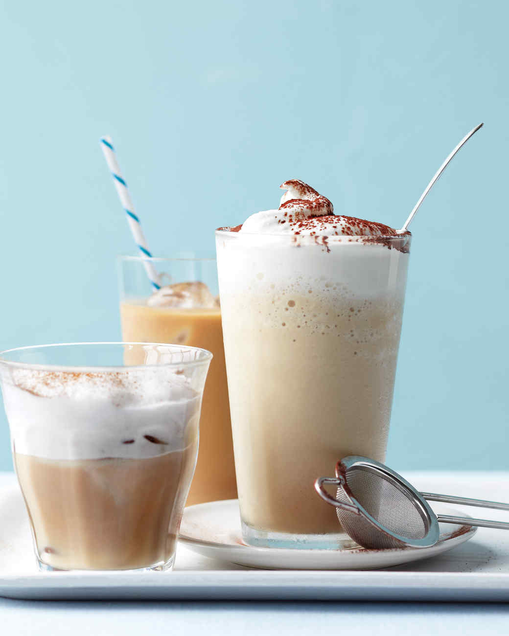 Iced coffee, iced cappucino, and coffee frappe