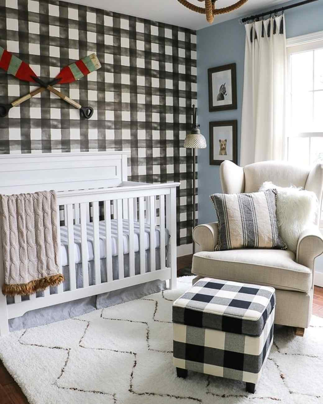 rustic nursery with buffalo check