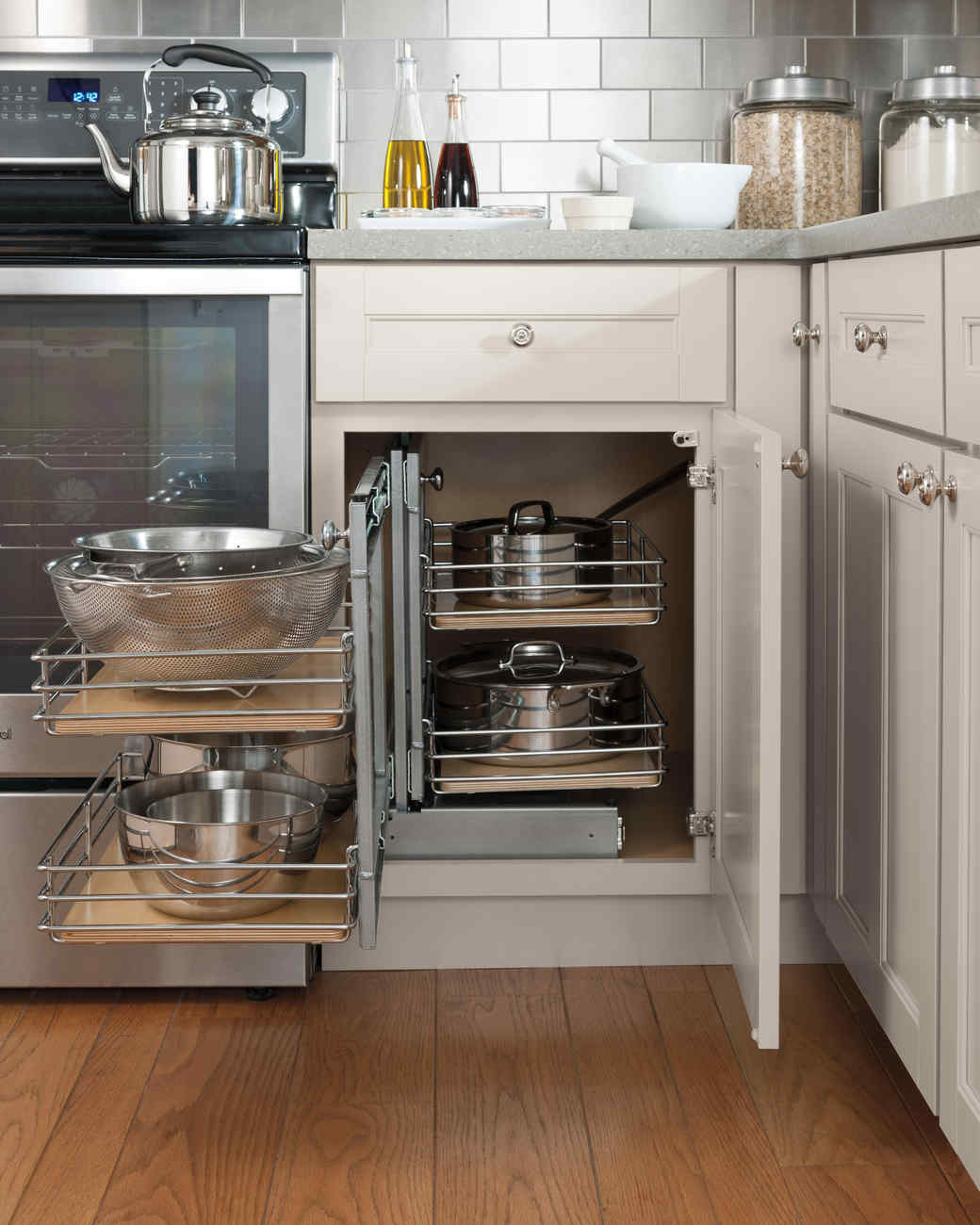 Perfectly Organized Pots. A Blind Corner Base Cabinet With A Pullout ...