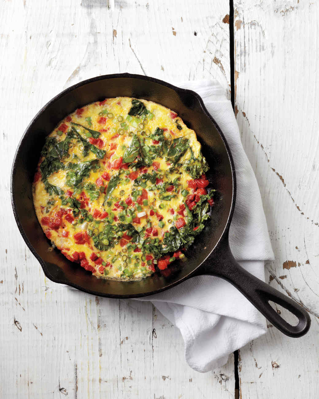 Roasted Red Pepper and Kale Frittata Recipe | Martha Stewart