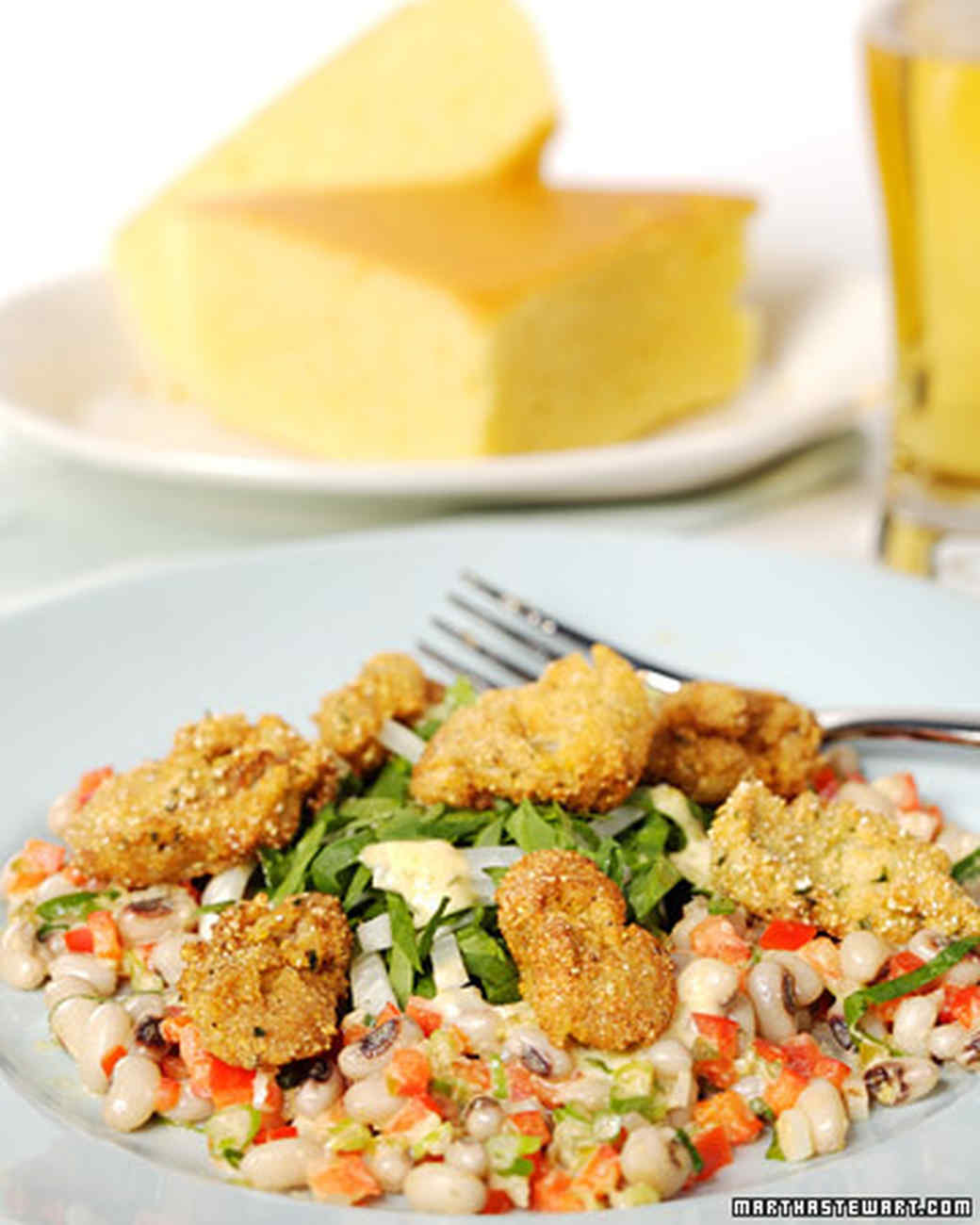 Cornmeal-Crusted Oyster and Black-Eyed Pea Salad with Jalapeno Dressing