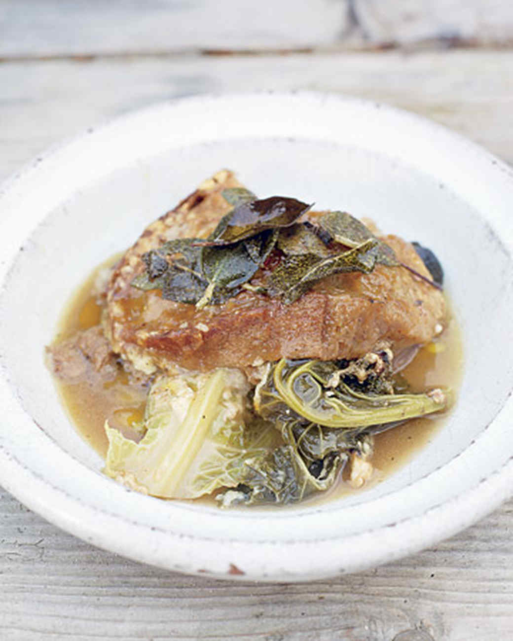Italian Bread and Cabbage Soup with Sage Butter