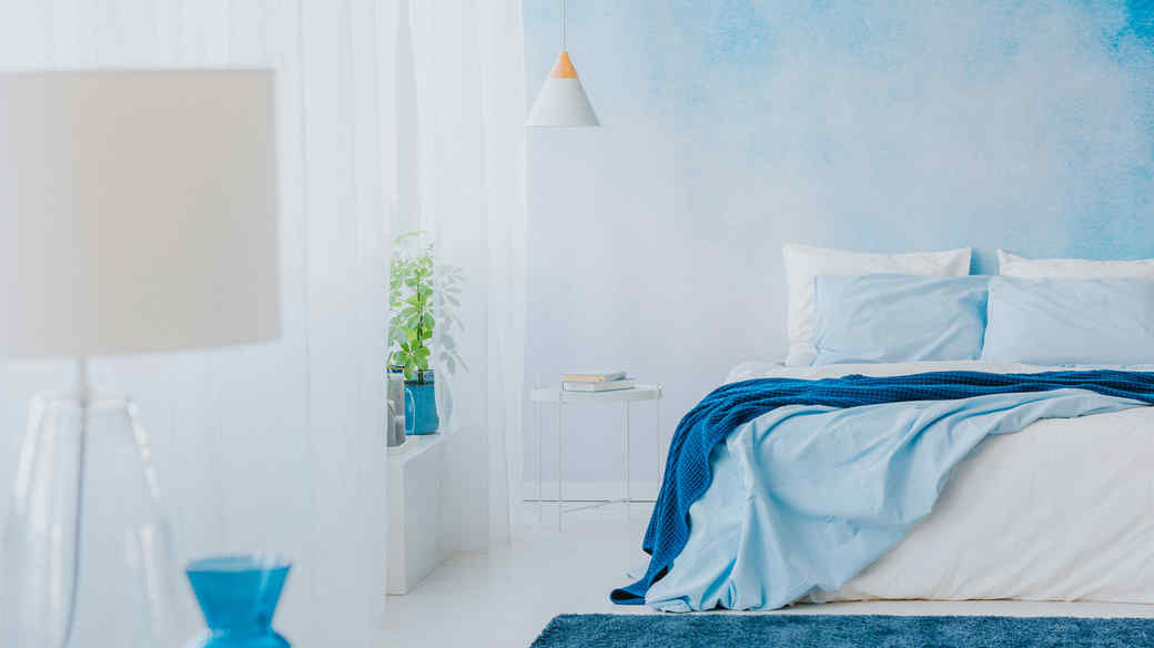 blue toned color theme bedroom