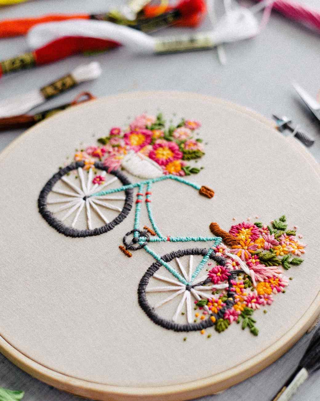 Embroidered Bicycle with Basket of Flowers | Martha Stewart