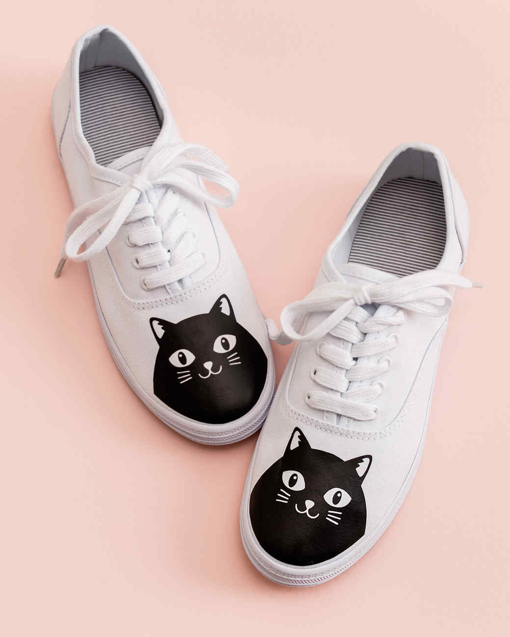 cricut cat white keds shoes