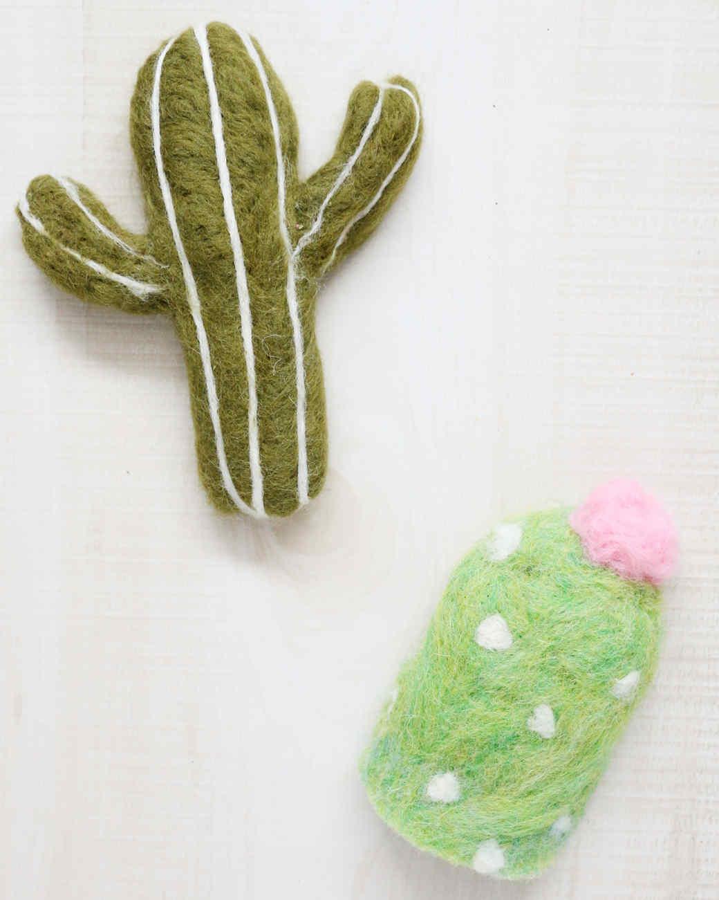 two felt cactus cat toys