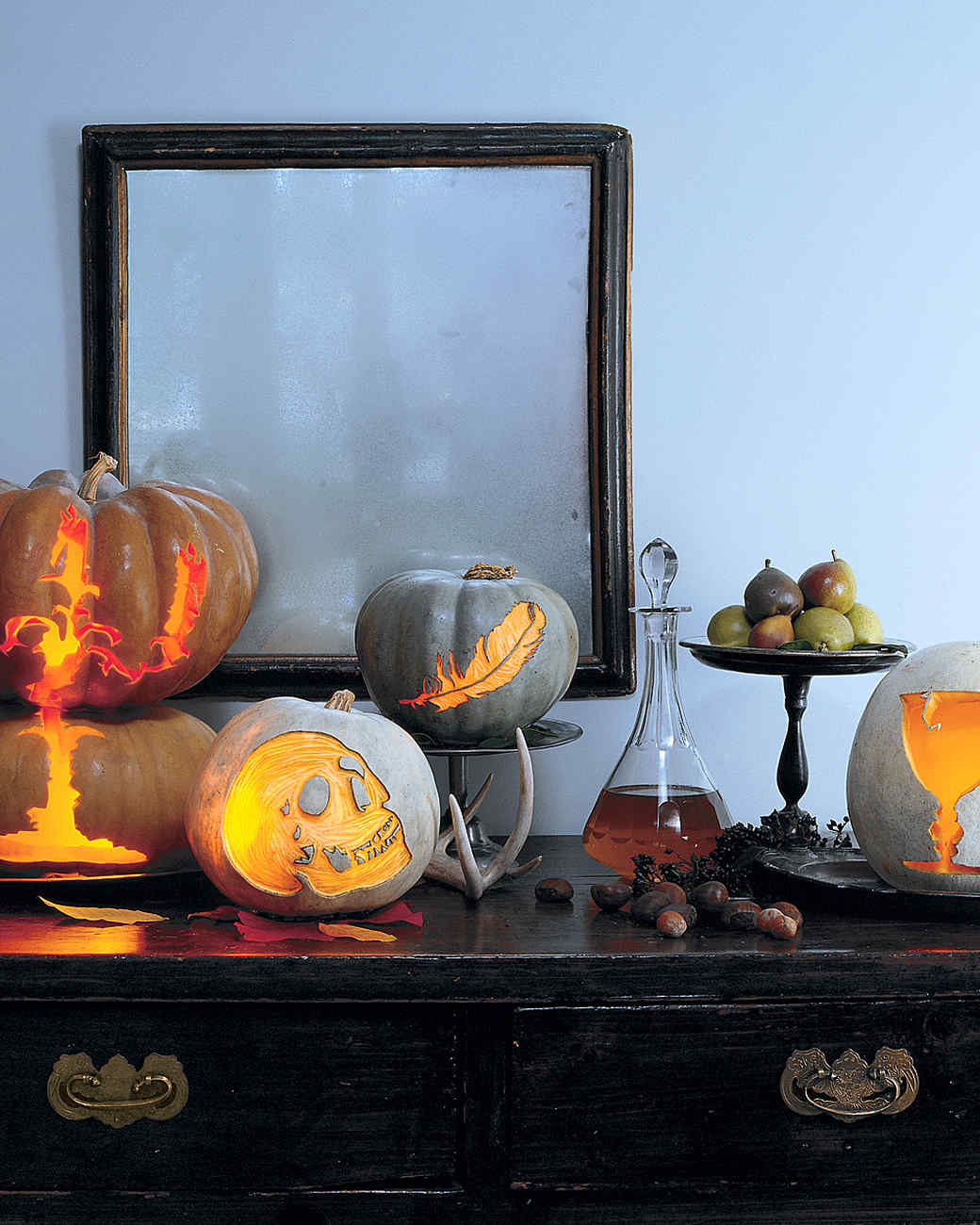 Pumpkins with Scary Etched Silhouettes