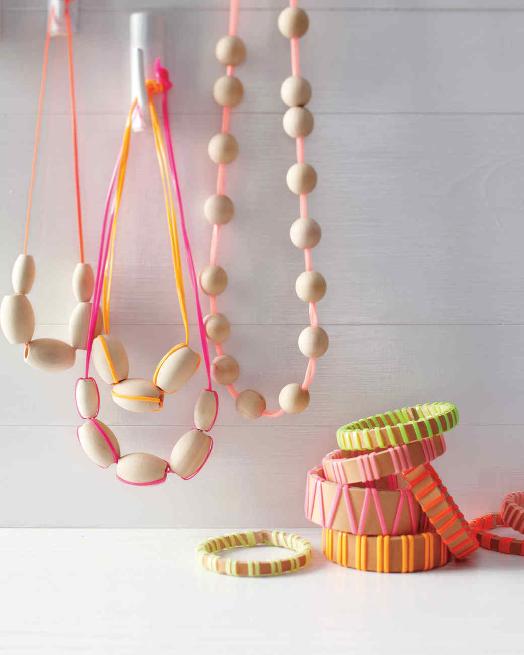 Wood And Neon Lanyard Necklaces Martha Stewart