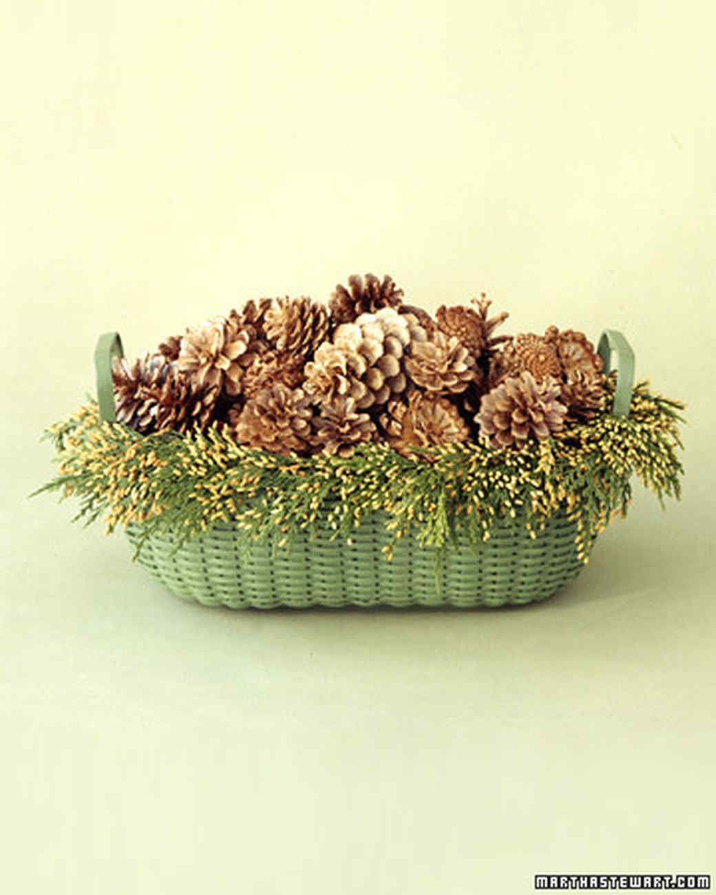 Bleached Pinecones Basket