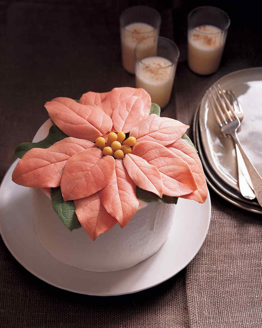 Orange Spice Cake  with White Chocolate Poinsettia Topper
