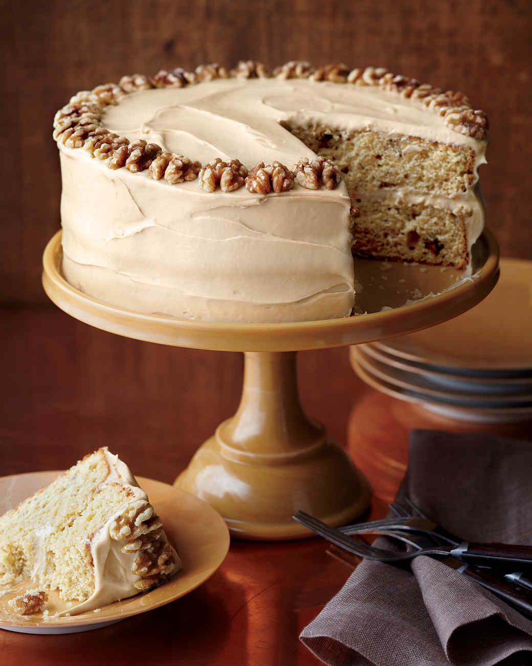 Maple-Walnut Cake with Brown-Sugar Frosting Recipe | Martha Stewart