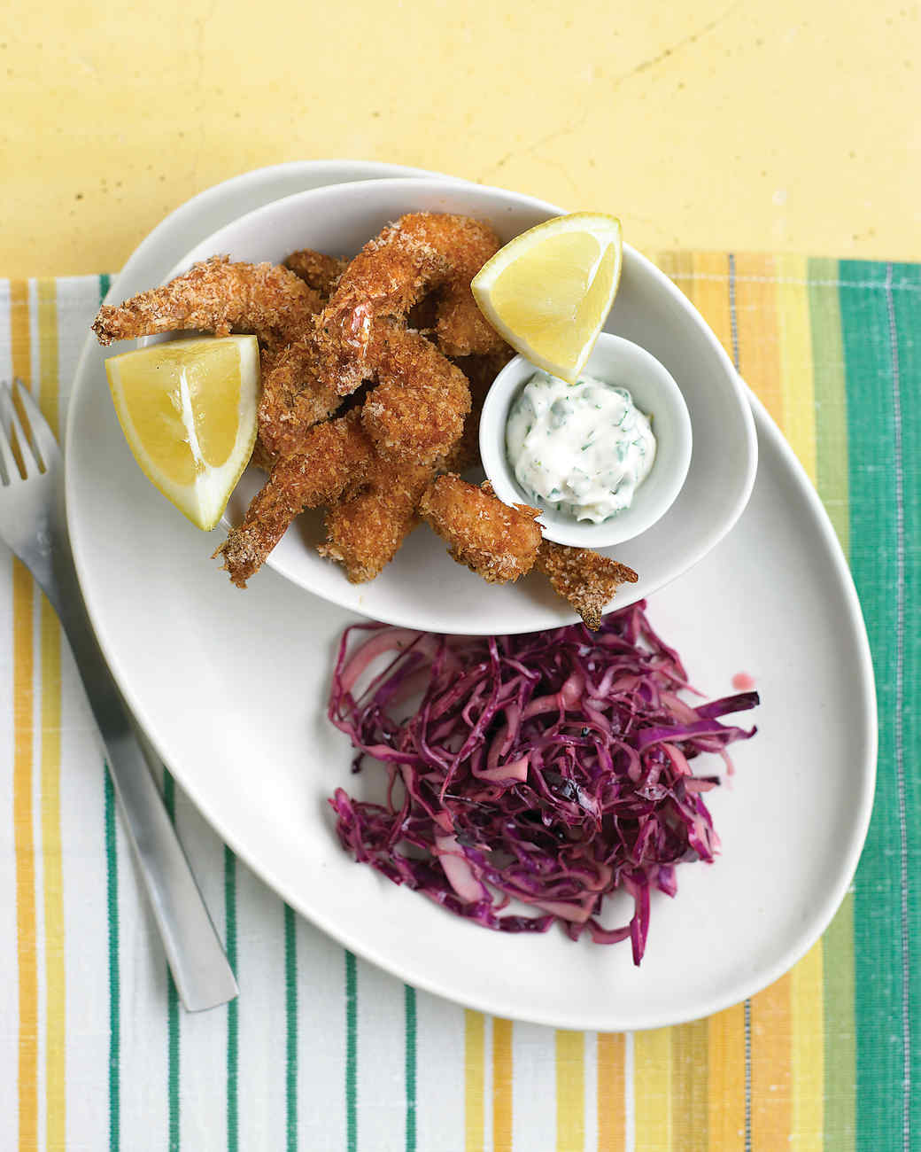 Crispy Shrimp with Tartar Sauce and Red-Cabbage Slaw