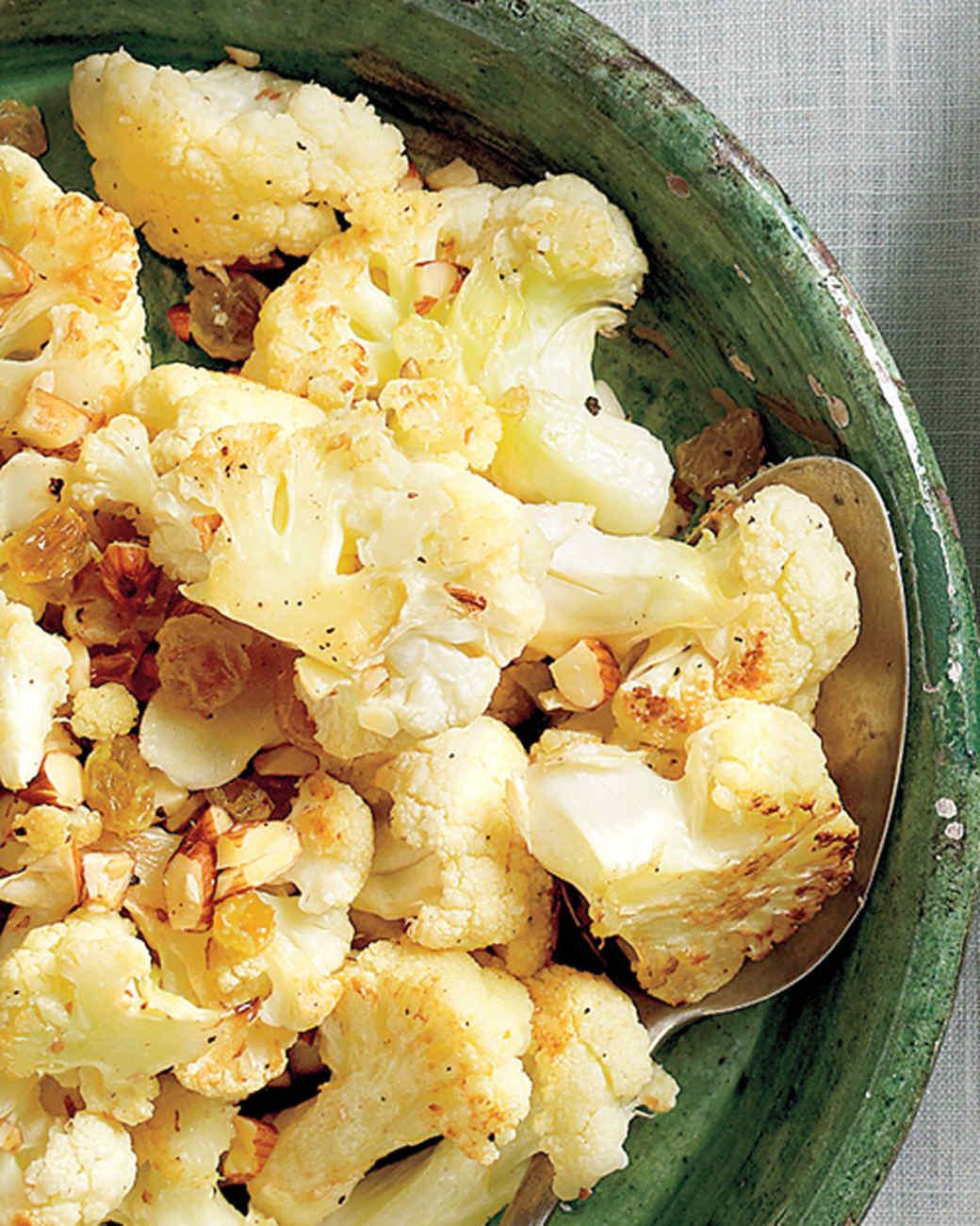 Cauliflower with Golden Raisins and Almonds