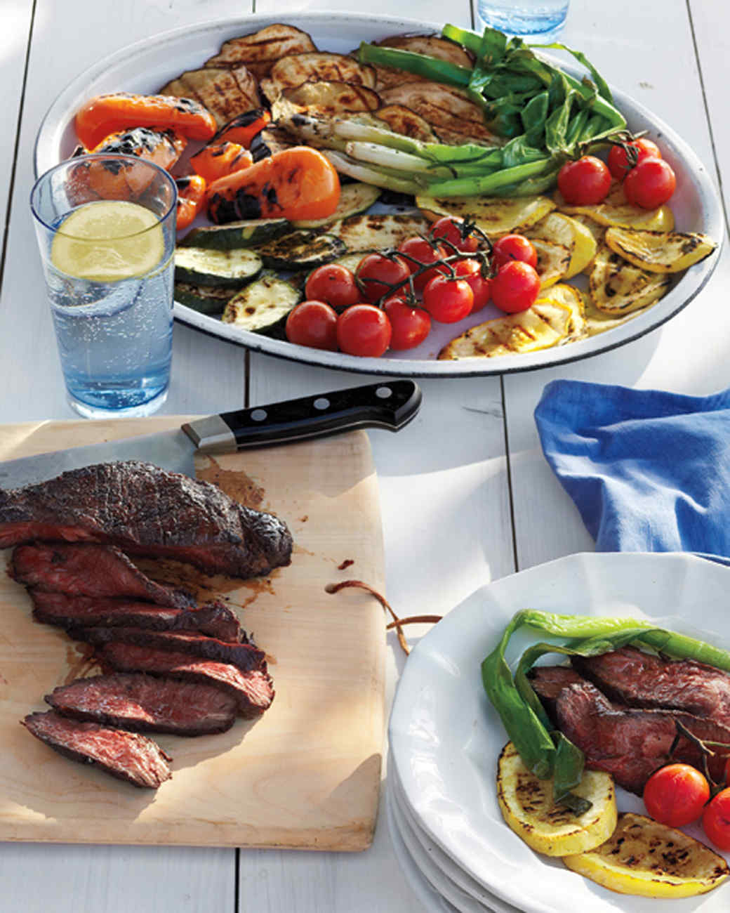 Easy grilling recipes from everyday food martha stewart grilled steak and summer vegetable salad forumfinder Image collections