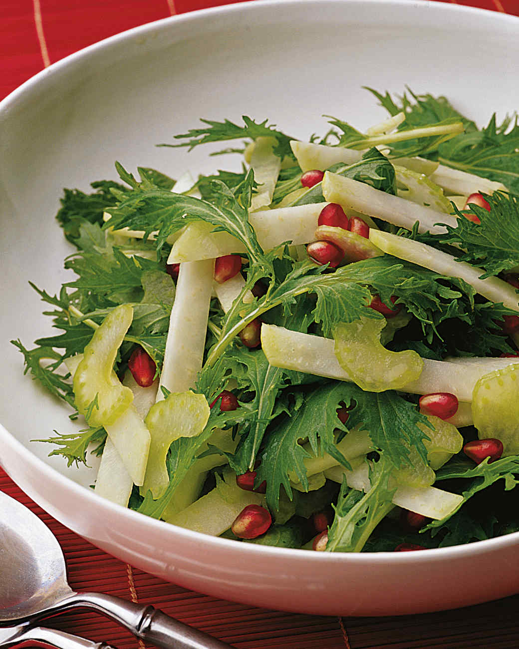 Mizuna Salad with Kohlrabi and Pomegranate Seeds