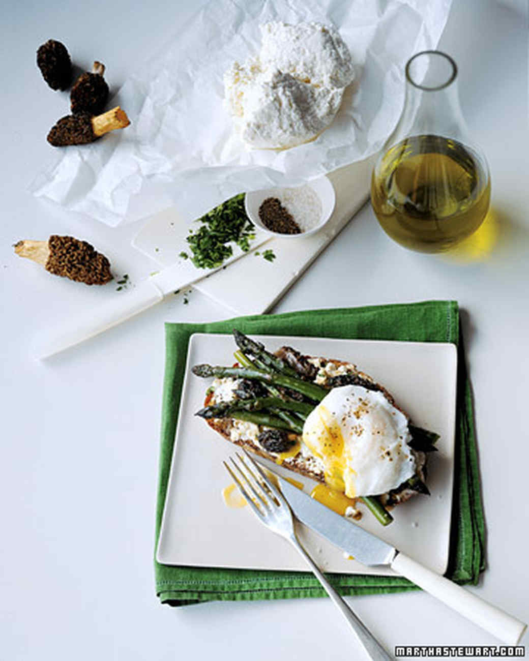 Morel and Asparagus Sandwiches with Poached Egg