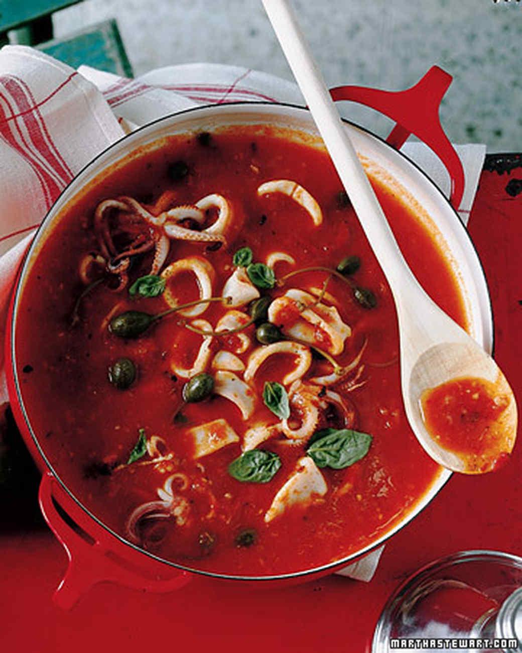 Calamari with Tomatoes, Caper Berries, and Basil
