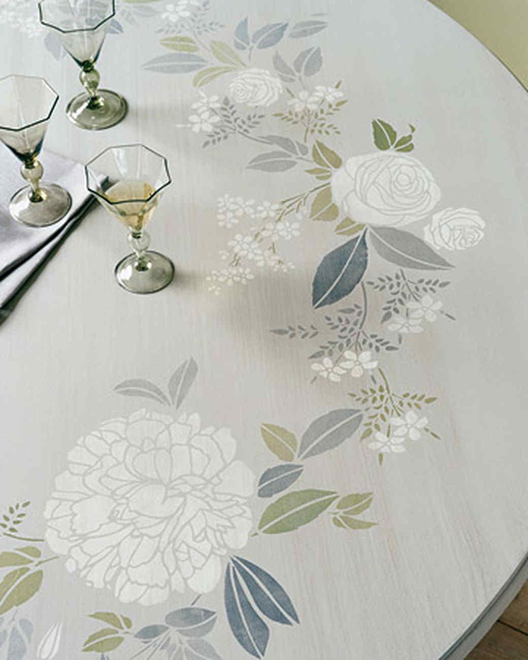 Garden-Print Stenciled Tabletop