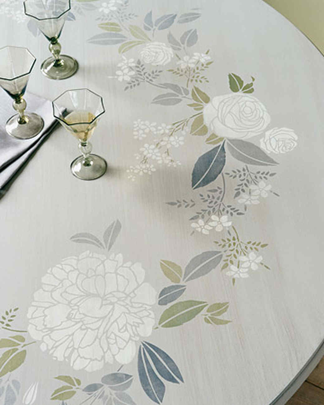 Garden Print Stenciled Tabletop