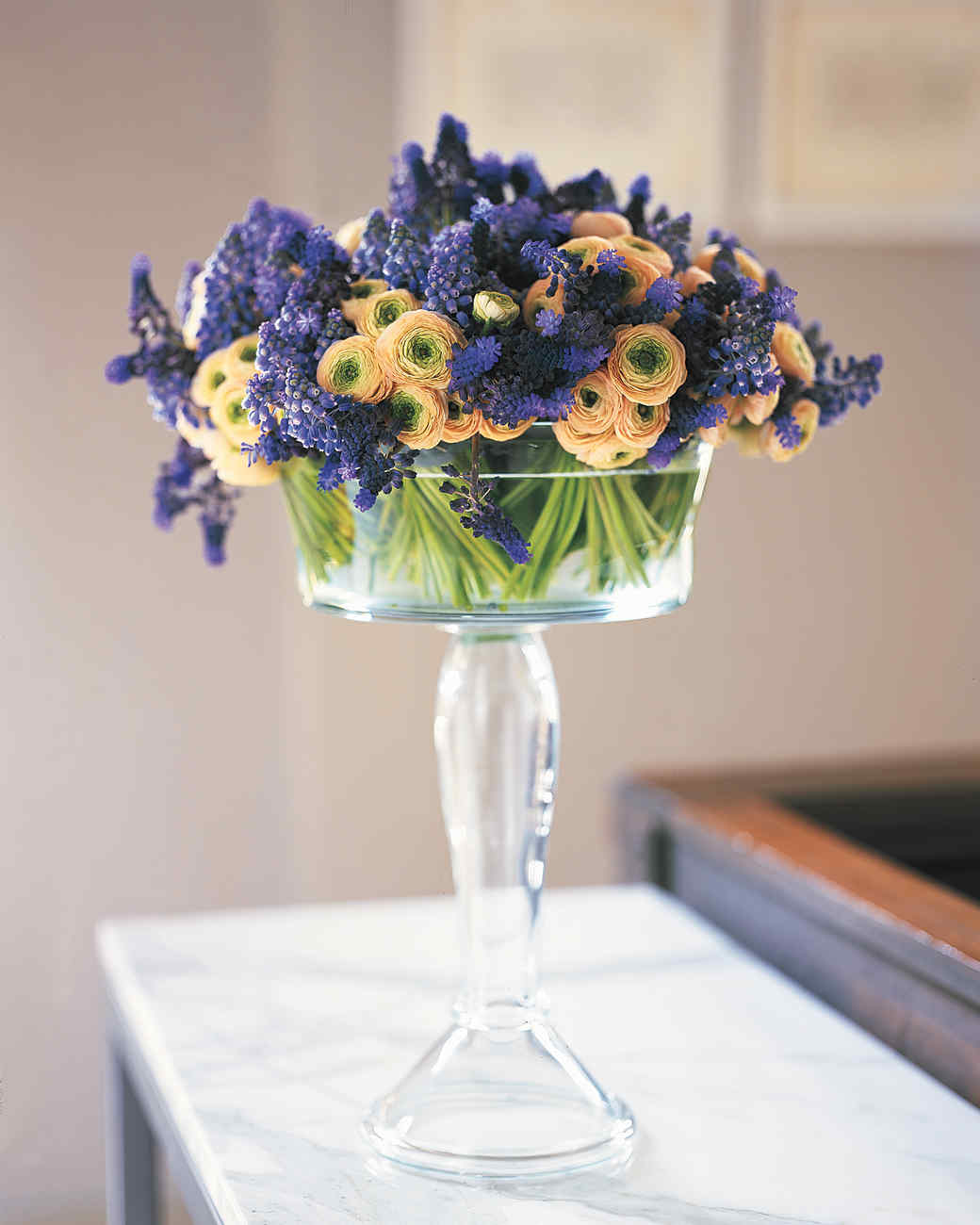 Garden Flowers in Glass Compote