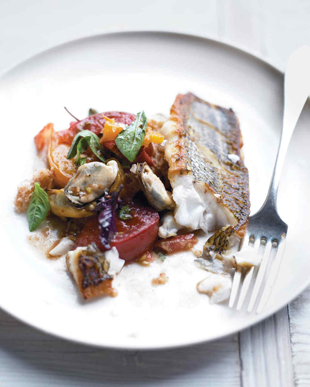 Roasted Black Bass with Mussels Panzanella