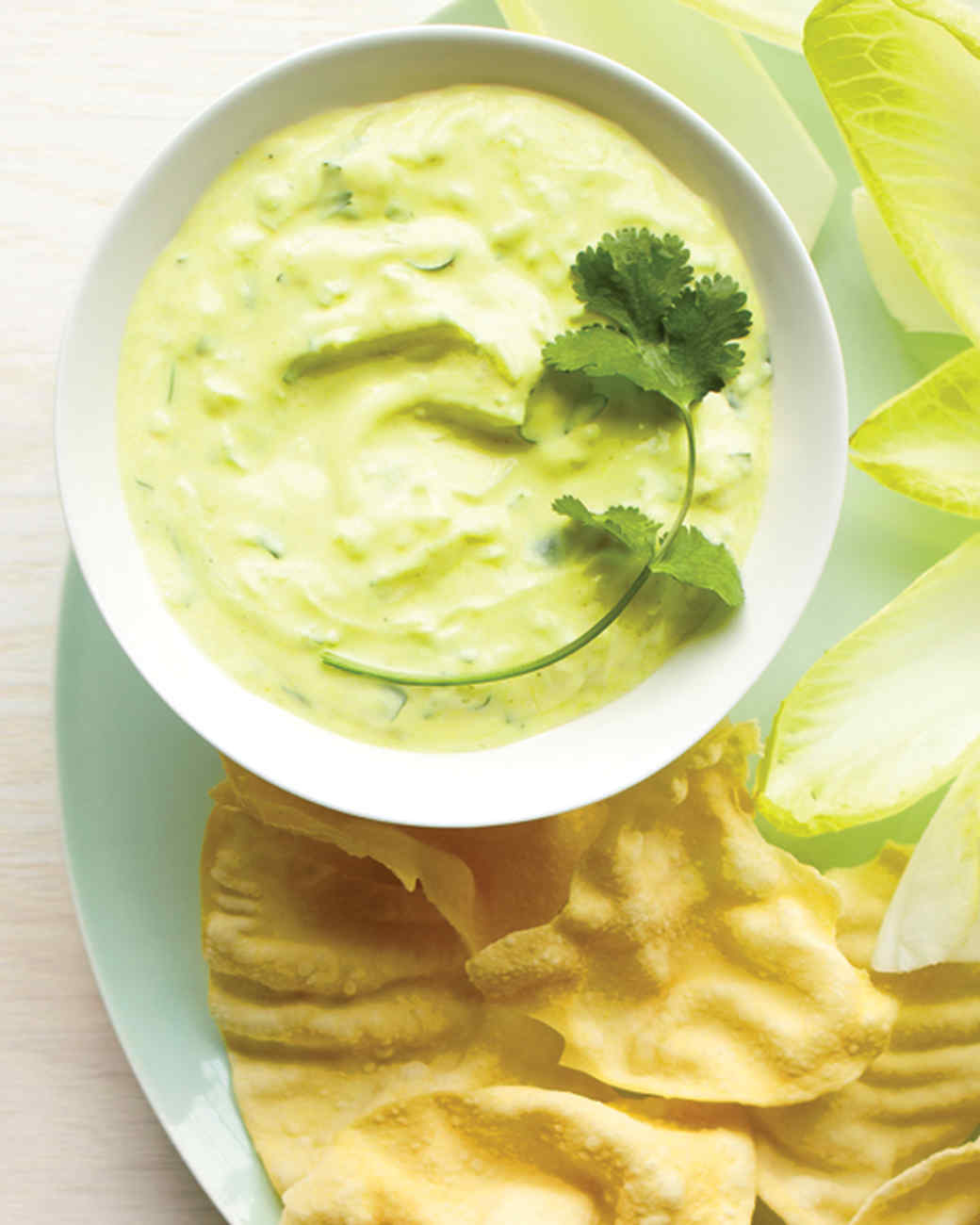 Spicy Yogurt and Cucumber Dip with Pappadams