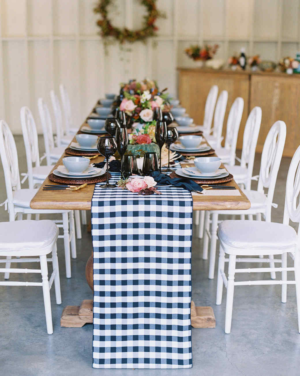 thanksgiving table setting with fall decor black white table runner