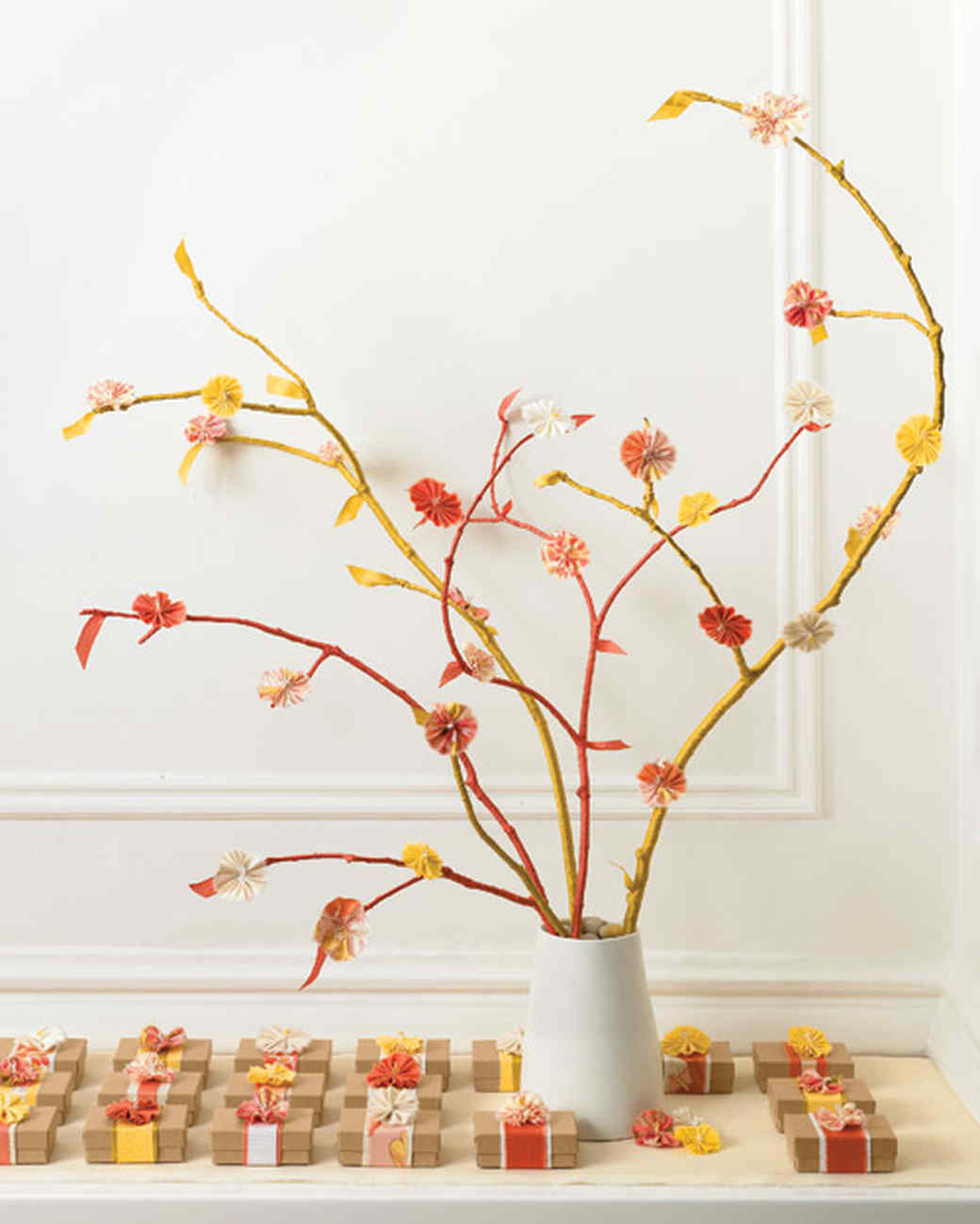 Flowering Branches with Fabric Quince Blossoms