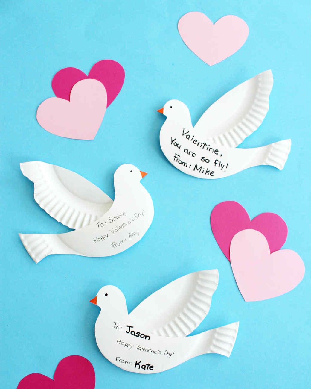 paper-plate doves  sc 1 st  Martha Stewart & Paper-Plate Dove Valentines | Martha Stewart
