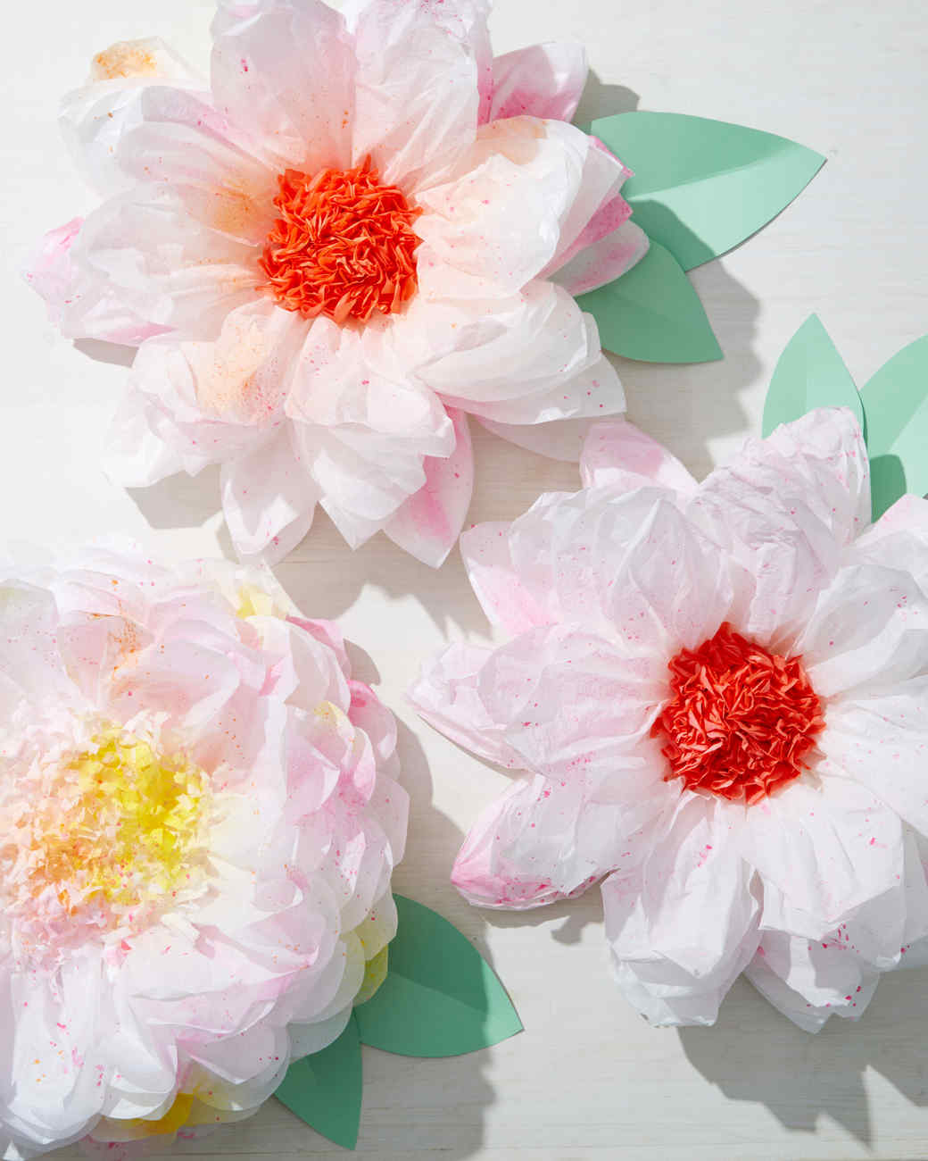Splattered Tissue Paper Flowers Martha Stewart
