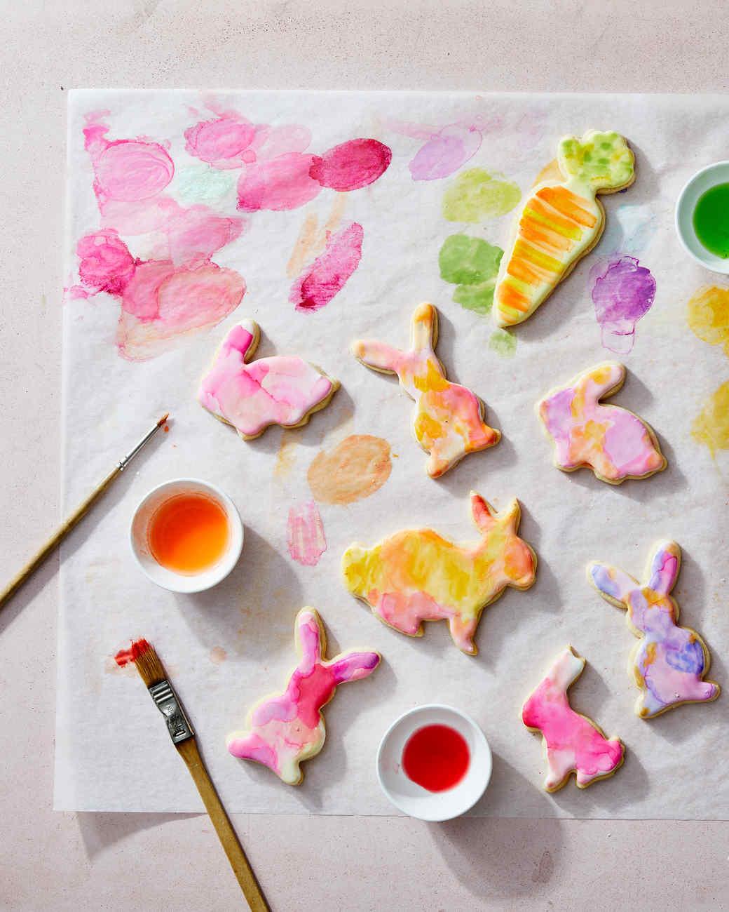 rabbit cookies pastel painted