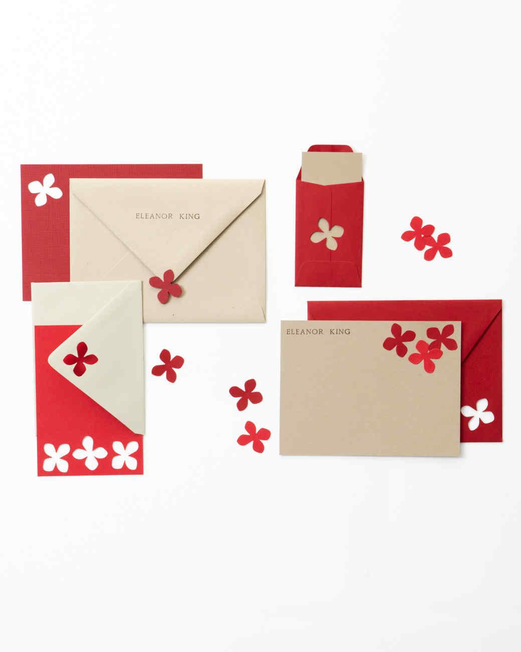 Red Hydrangea Punch Stationery Set
