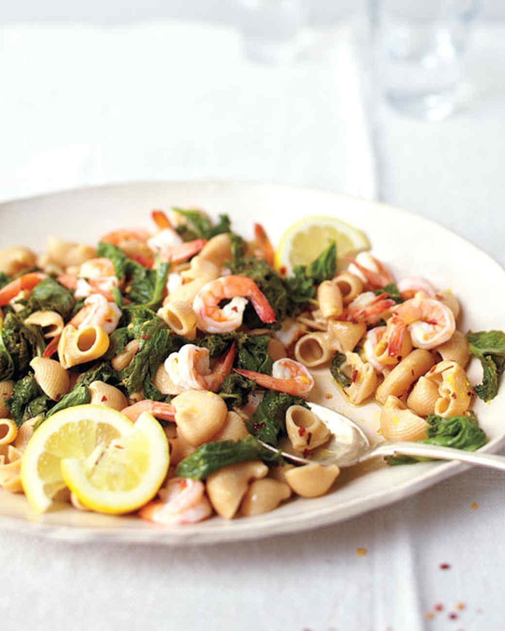 Mustard Greens, Shrimp, and Anchovy Pasta
