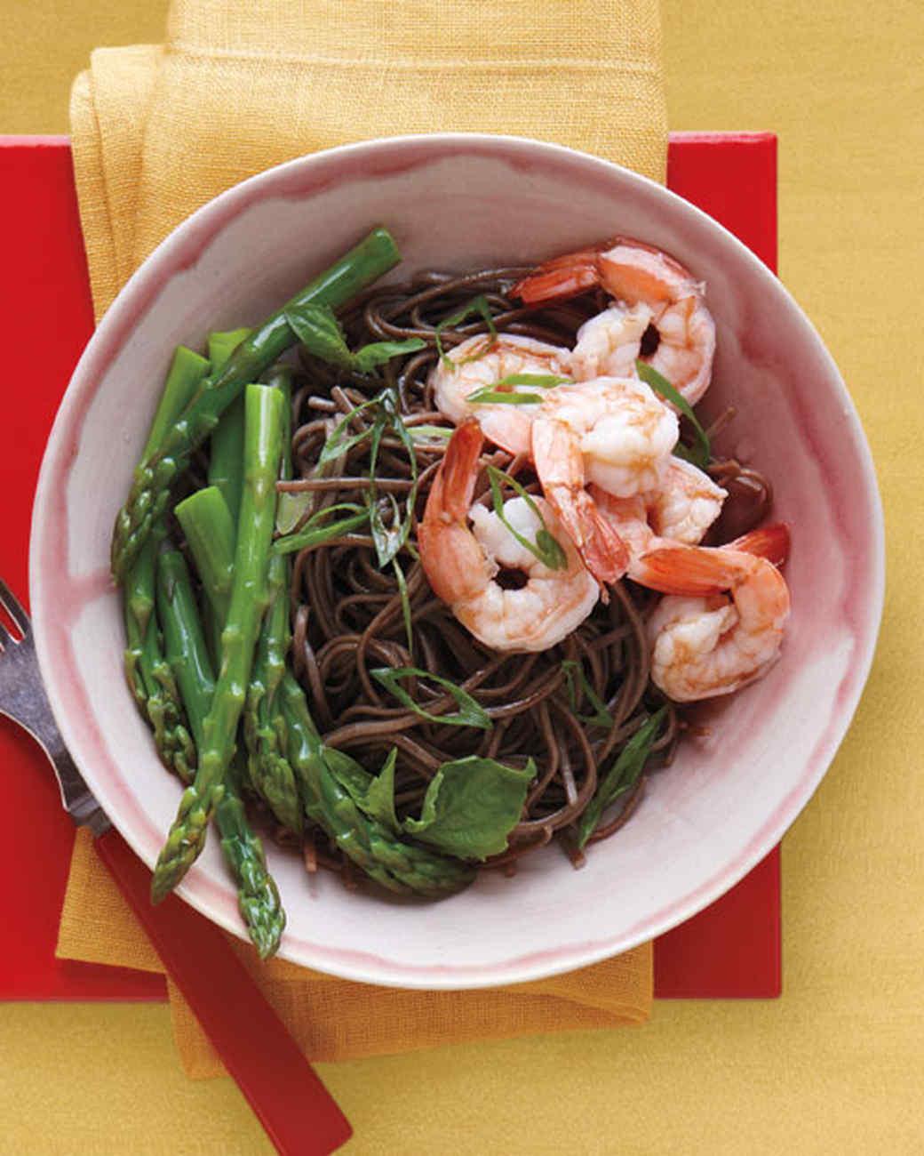 Soba Salad with Asparagus and Shrimp