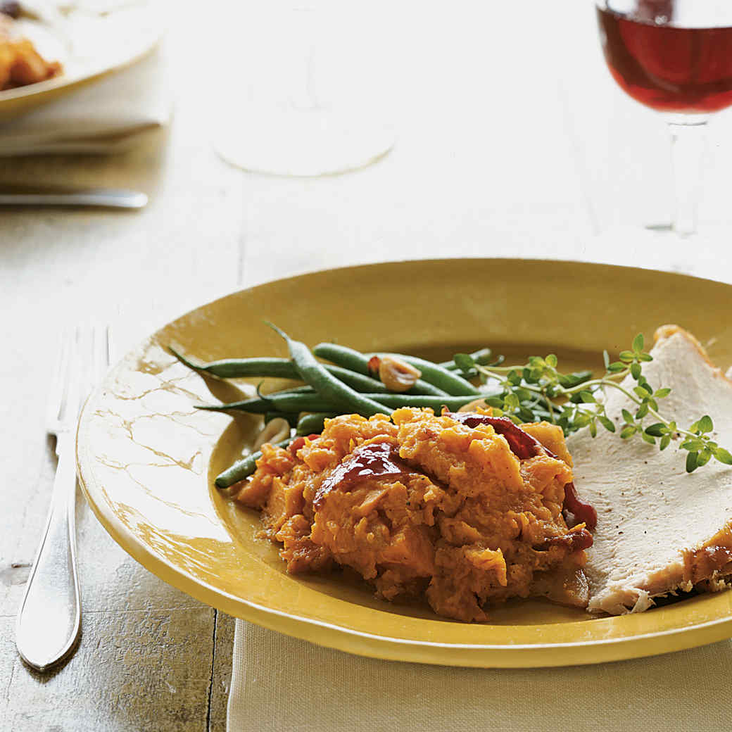 Sweet Potato Stuffing with Persimmons and Plums