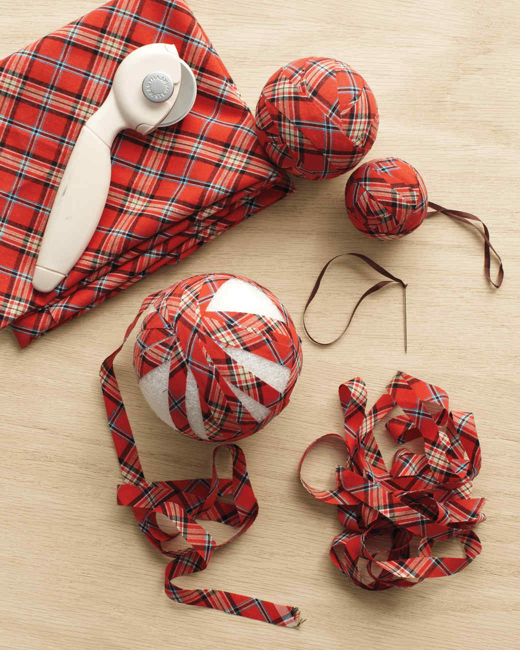 Plaid Ball Ornaments Martha Stewart