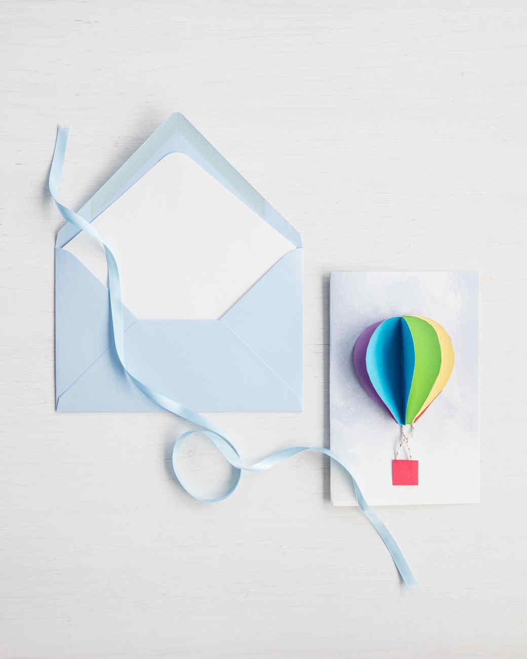 3D Hot Air Balloon Baby Shower Invitations Martha Stewart