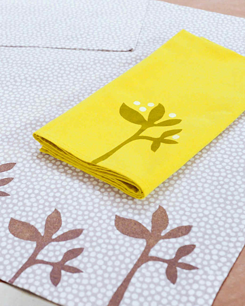 Stenciled Napkin and Tea Towel & Video | Martha Stewart