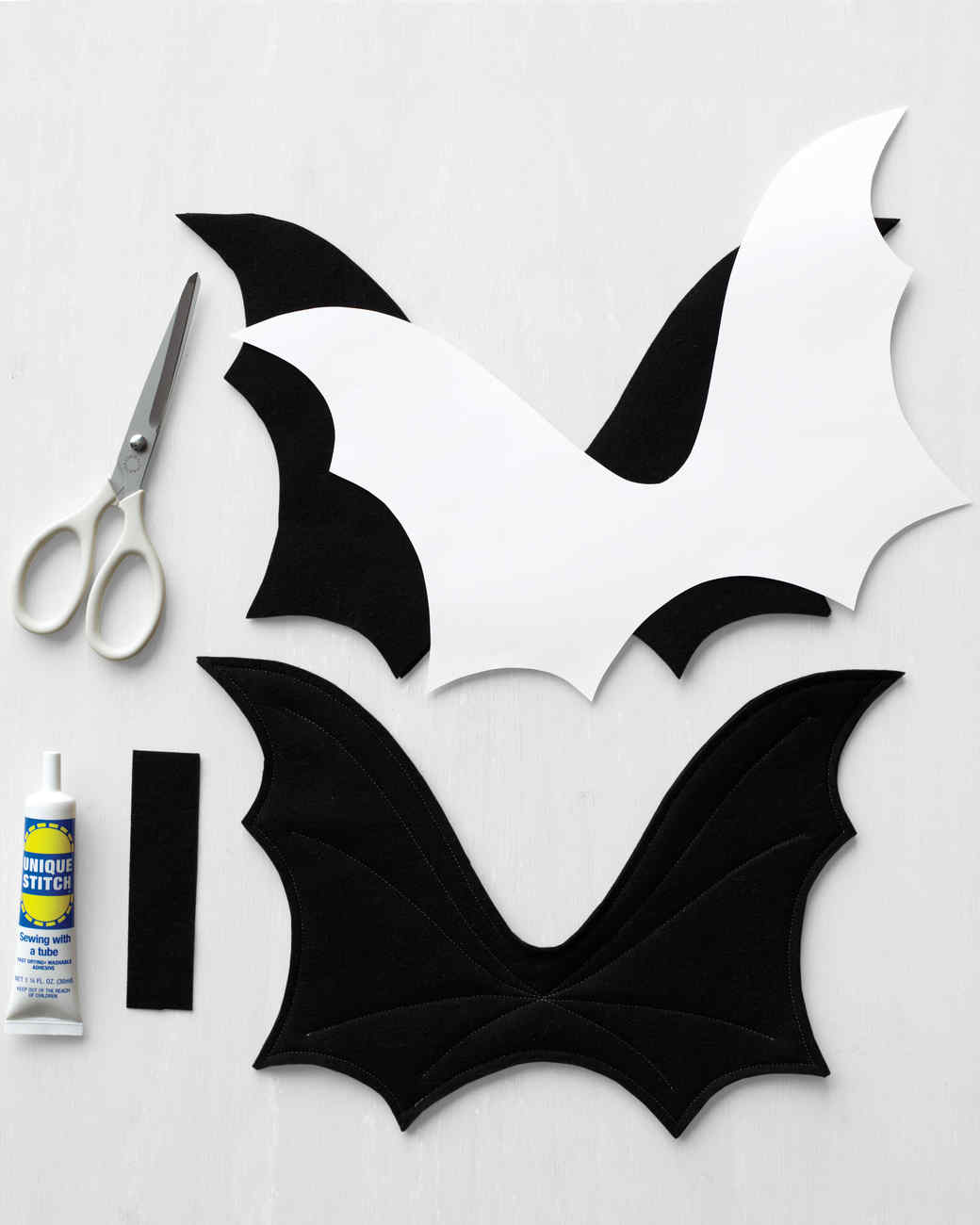 Extra felt layers help the wings stay upright. A rectangle of felt fastens the wings to a harness. & Bat Wings Harness Costume | Martha Stewart